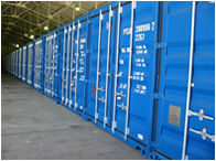 A Line of Storage Containers inside one of our Warehouses
